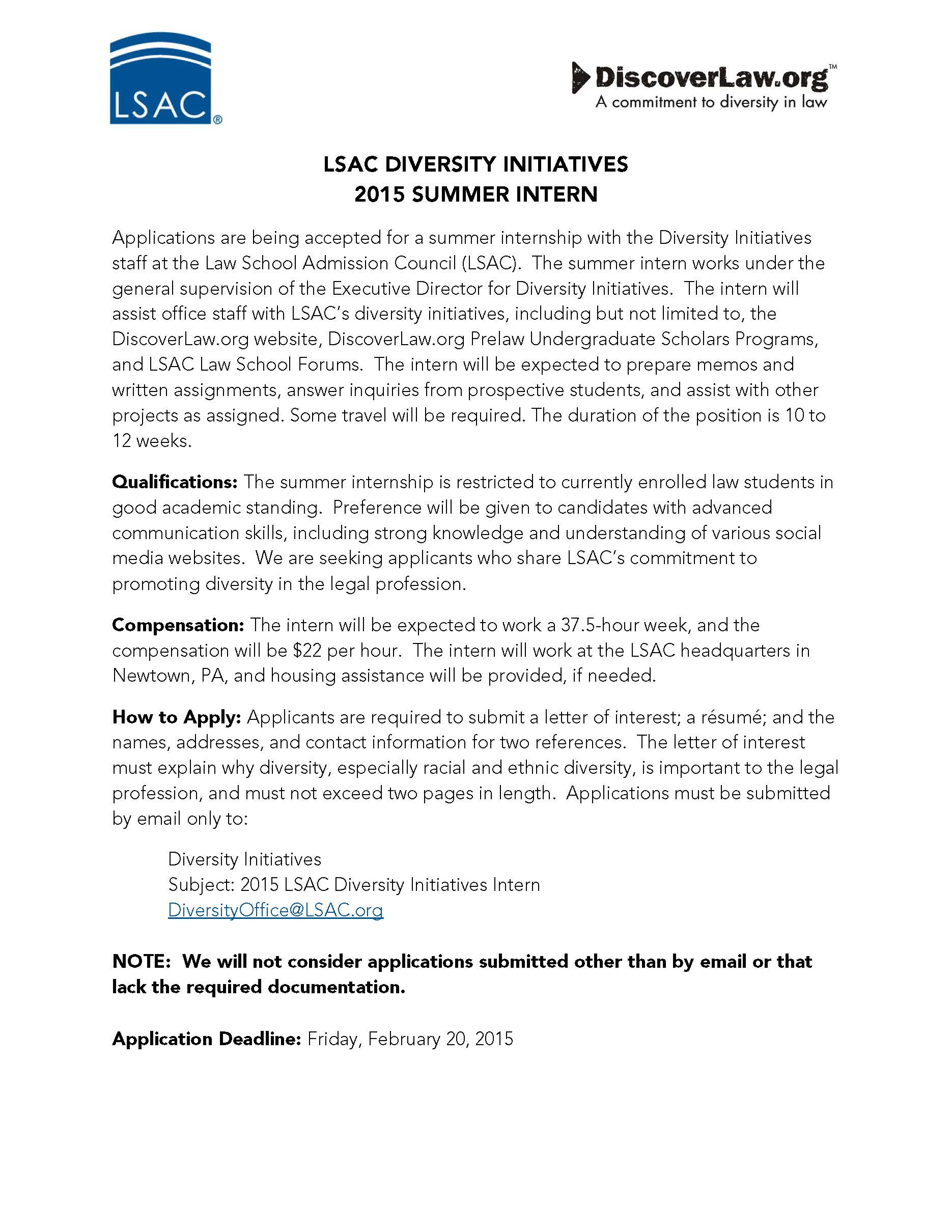 LSAC Diversity Initiatives Internship